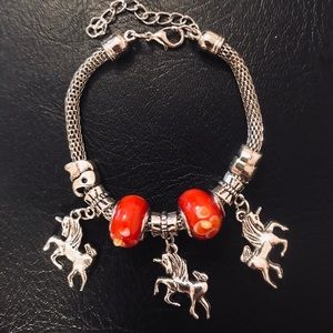 Unicorn Charm Bracelet Red beads (adjustable)